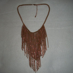 Draping Gold Plated Bib Necklace Flapper Style